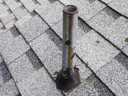 """Black jacked"" plumbing vents are all too common, but this is not a good way to flash a roof penetration."